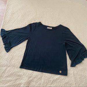 Michael Kors Teal t-shirt with ruffle sleeve
